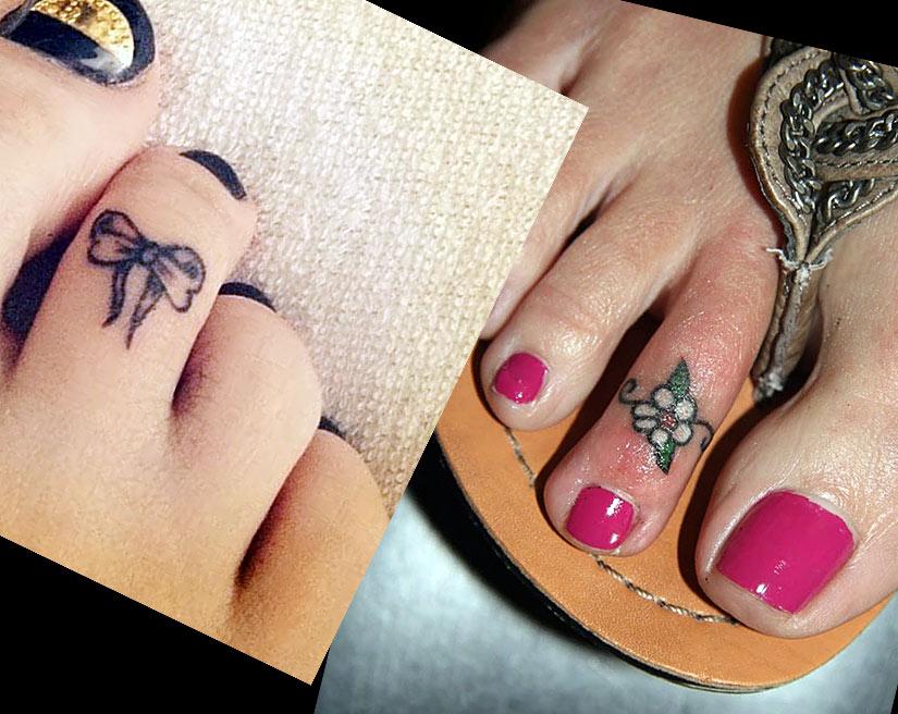 На пальцах ног в черно-белом и цветном виде