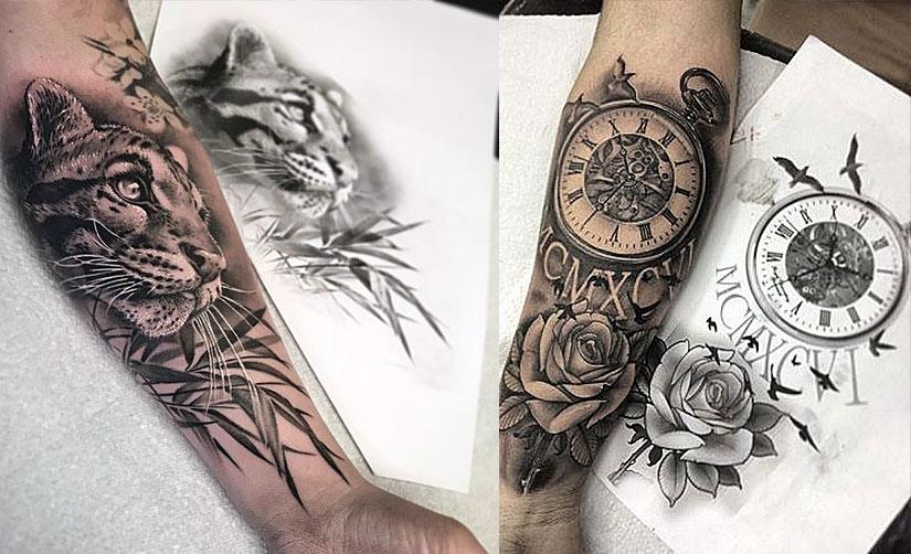 Татуировка сделанная по готовому рисунку (эскизу)