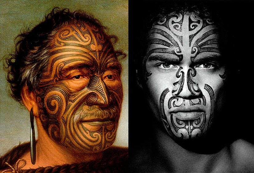 Тату на лице различных племен