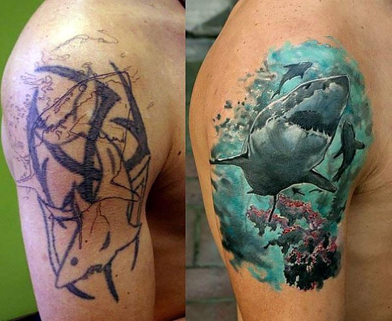 Исправление тату от плеча до бицепса, мастер перекрыл старую тату новой акулой