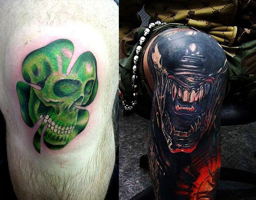 Интересные татуировки на колене в виде клевера с черепом и морды чужого