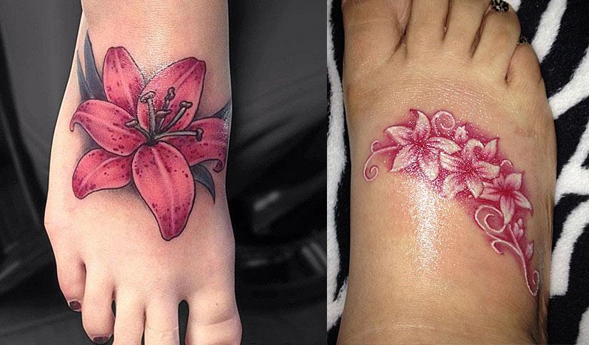 Яркие и красивые цветы тату на внешней стороне ступни ног