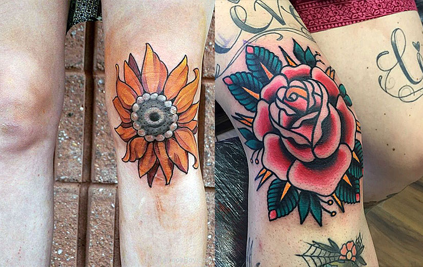 Цветы на коленях у девушек