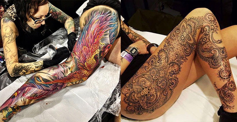 Татуировка на всю ногу от лодыжки до бедра