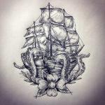 Корабль с спрутом