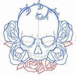 Череп с розами, цветной контур