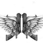 Эскиз пистолеты с крыльями