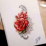 Объемные красные розы