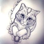 Красивый эскиз кошки