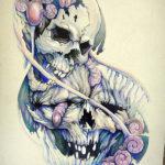 Абстрактный эскиз с черепами