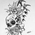 Эскиз череп с цветами и птичками