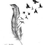 Перо с стаей птиц