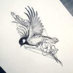 Птица с цветами