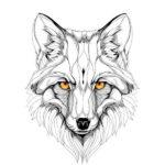 Мордочка лисы цветными глазами