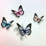 Разноцветные бабочки с тенью