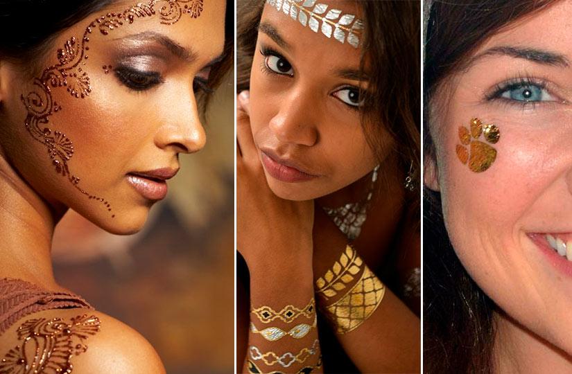 Временные татуировки на лице хной и с серебренной, золотой фольгой