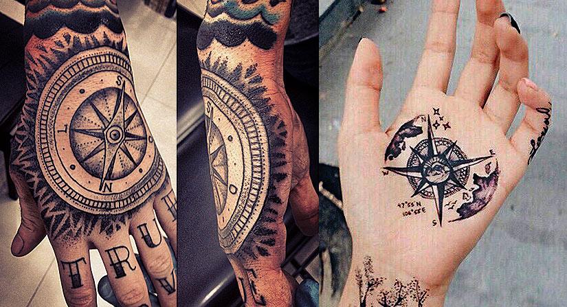 Татуировка компаса на внешней и внутренней стороне кисти