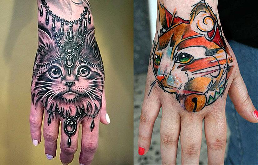 Цветные тату кошек для девушек