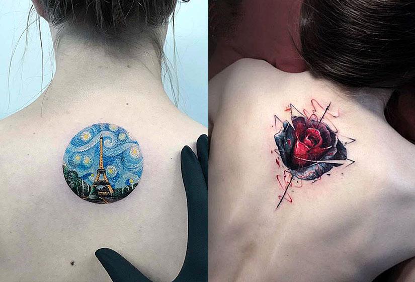 Маленькие и красивые тату круг с эйфелевой башней и 3D роза