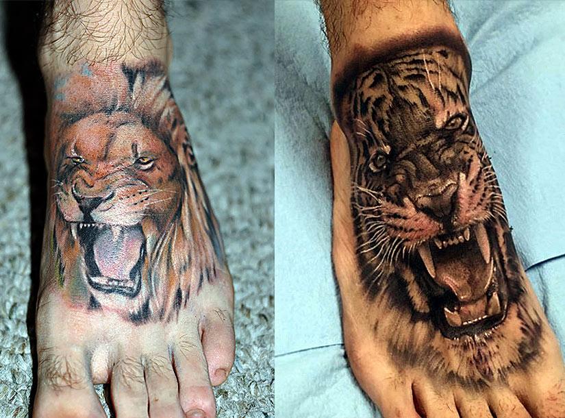 Цветные тату для парней с львом и тигром