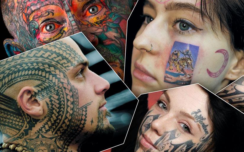 Разные татуировки на лицах