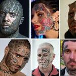 Множество вариантов татуировок на лице