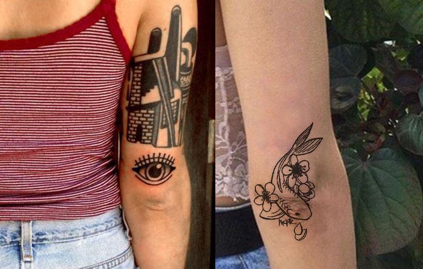 Маленькие татуировки на локте, глаз и рыбка