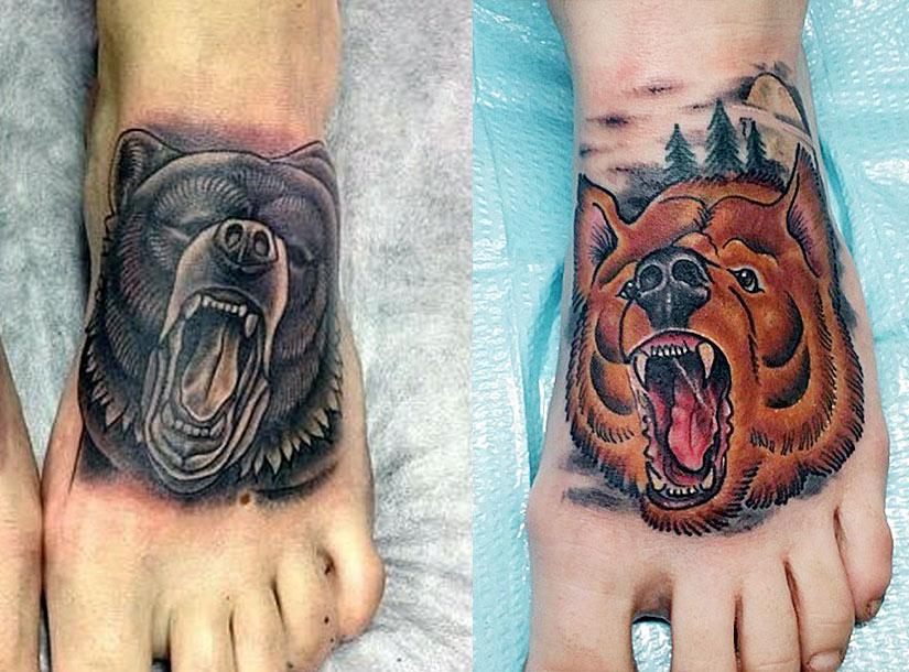 Татуировки медведя с оскалом
