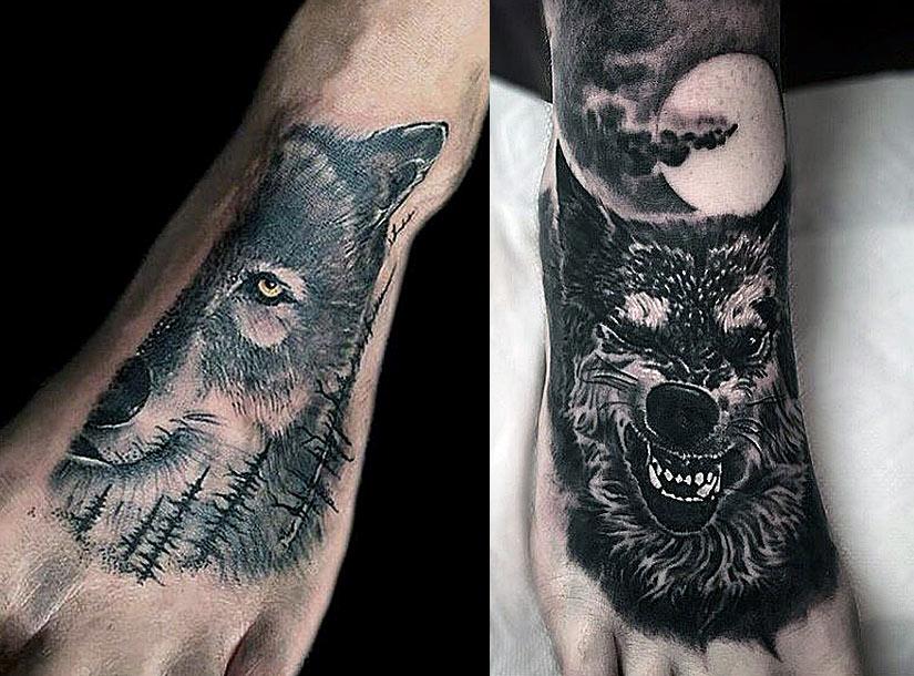Мужские татуировки с волком в черно-белом исполнении