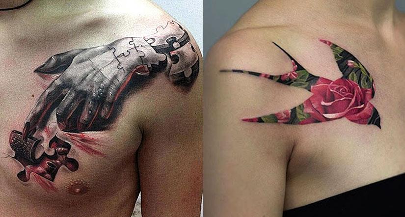 Красивые татуировки с рукой и ласточкой