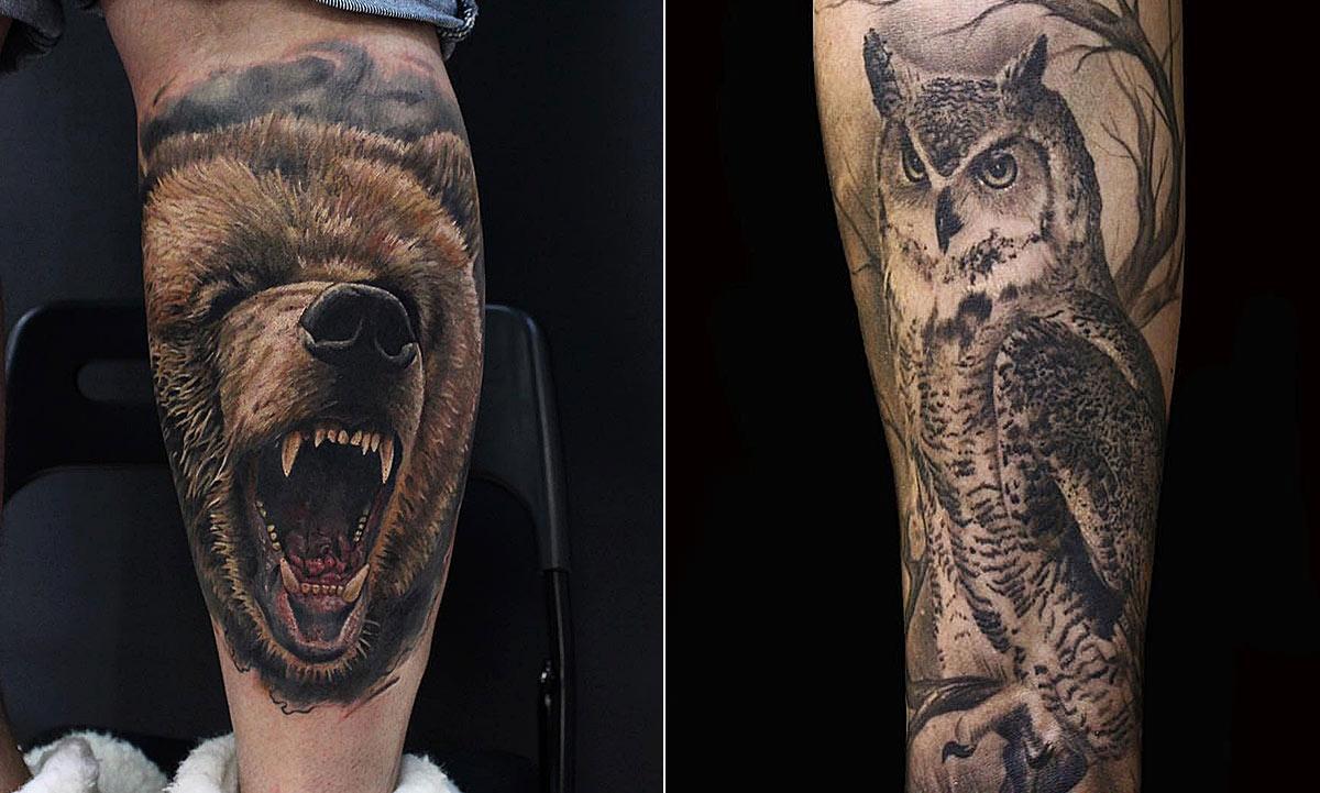 Наколка животных, медведь с оскалом и мудрый филин