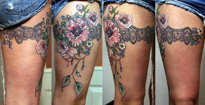 Женская татуировка от колена до бедра