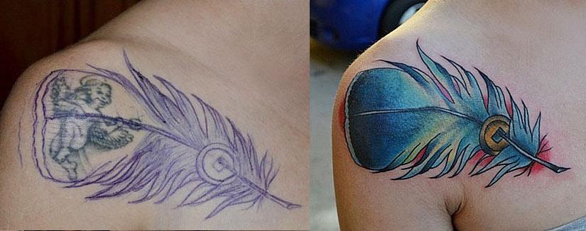 Перекрытие старой татуировки пером