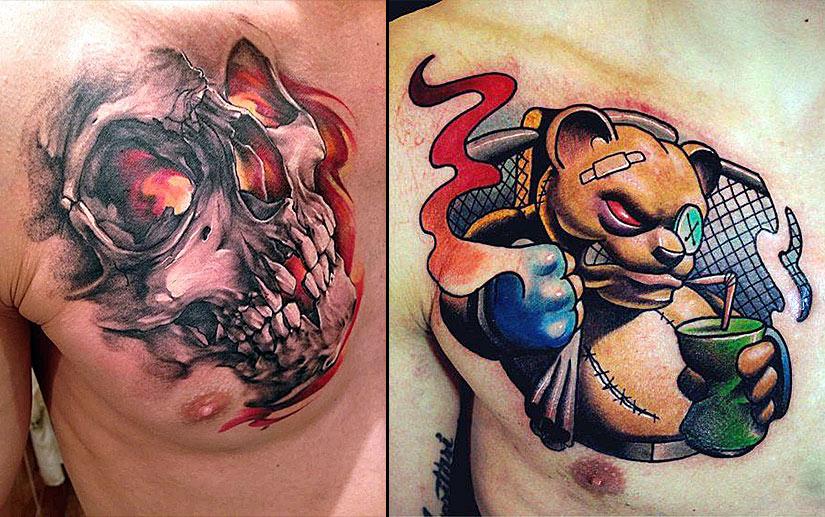 Мужские татуировки ниже ключицы, череп и медведь
