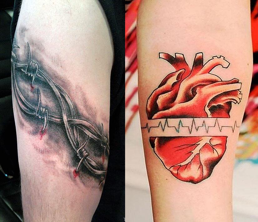 Вокруг бицепса проволока с шипами и сердце с кардиограммой