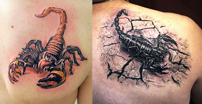 Скорпионы в двух стилях, цветной и ч.б.