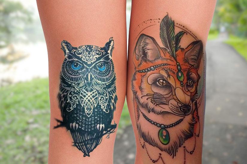 Татуировка для девушек на коленях сова и лиса