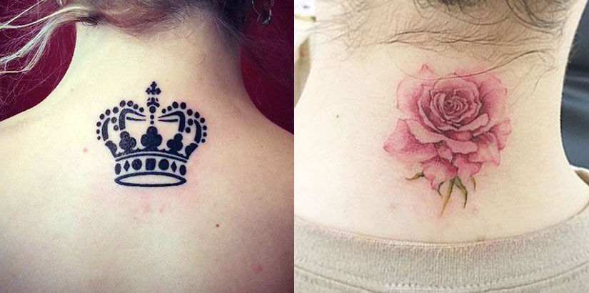 Тату сзади шеи, корона в черном цвете и реалистичная роза в пастельных цветах