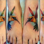Цветные тату колибри