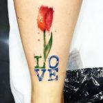Надпись с тюльпаном