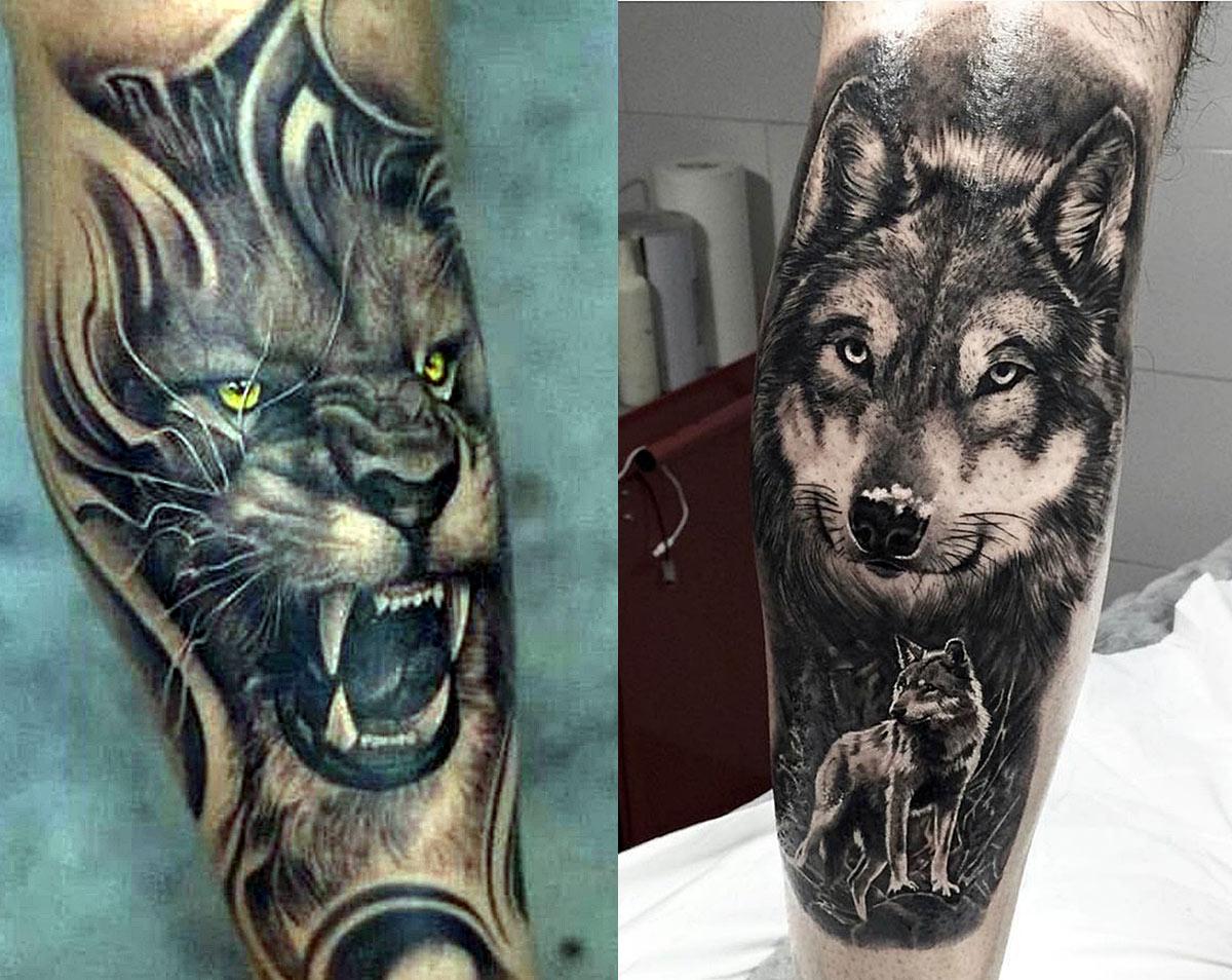 Чисто мужские татуировки с мордой льва и волком