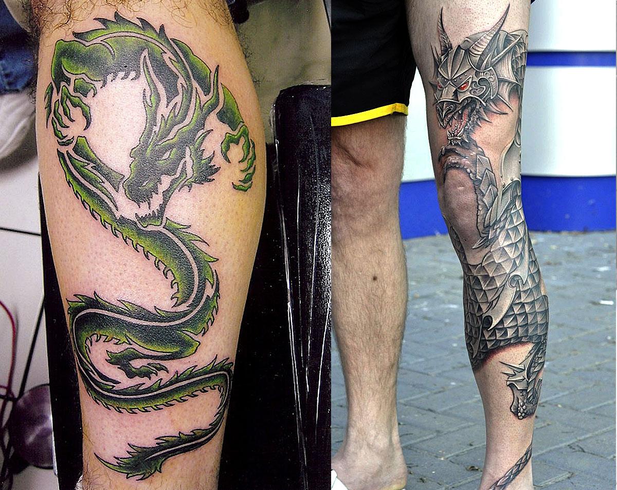 Драконы, вдоль голени и с права тату вокруг голени