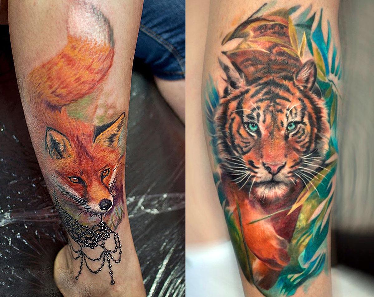 Bellissimo татуировки женские на ноге