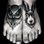 Тату животных, сова и заяц