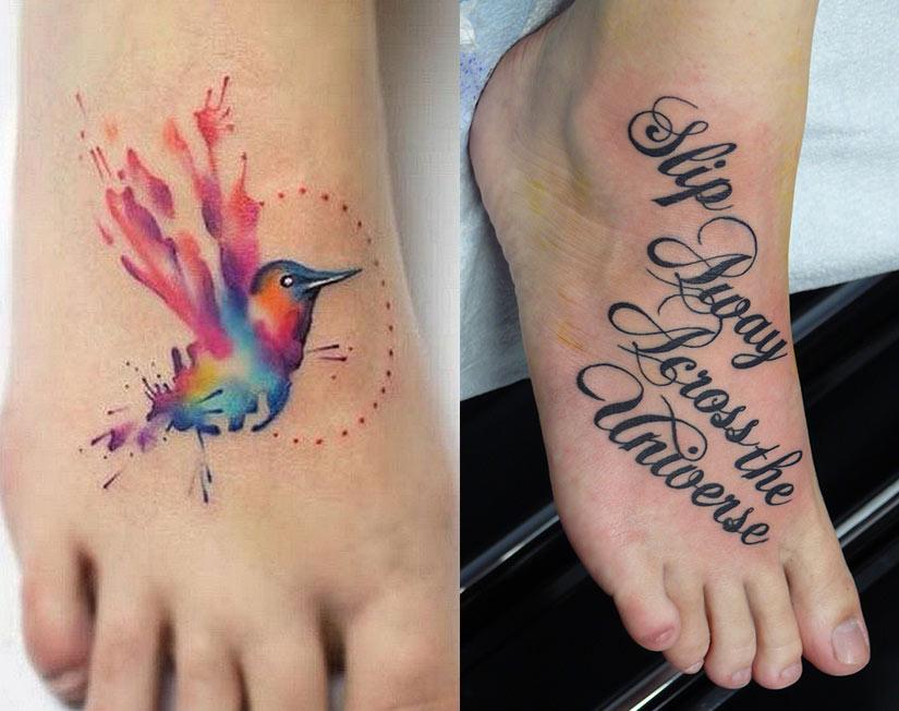 Цветная колибри в стиле акварель, надписи