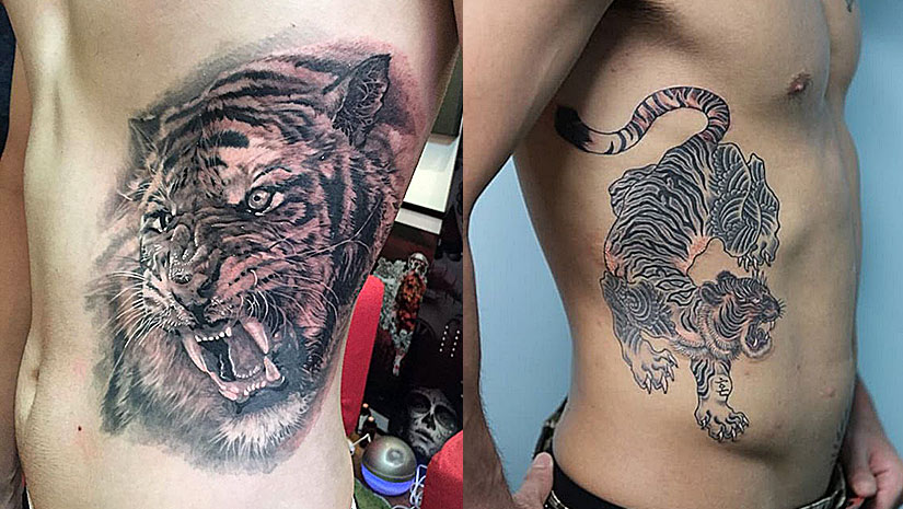 Крутые мужские татуировки с тиграми