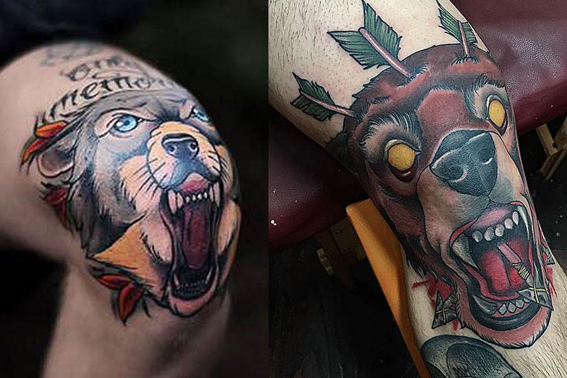 Мужские тату с волком и медведем