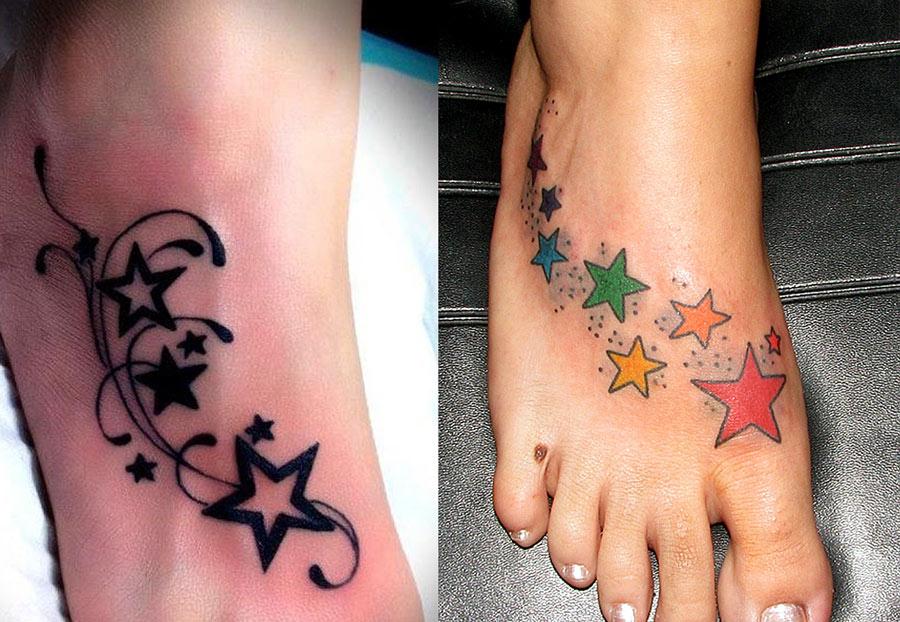Красивые женские тату на лодыжке с звездами