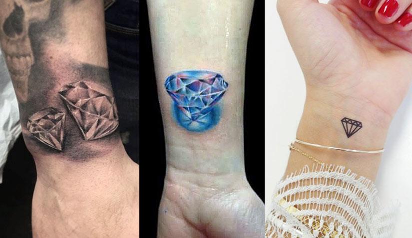 Черно-белая и цветная татуировка бриллианта