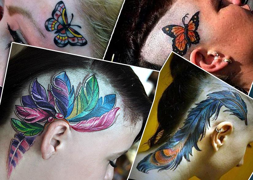 Женские тату с перьями и бабочками